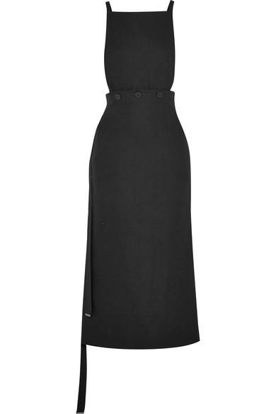 Joseph Woman Idaho Covertible Crepe Midi Dress Black Size 36 Joseph LrVNKQi