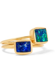 Pippa Small Set of two 18-karat gold opal rings