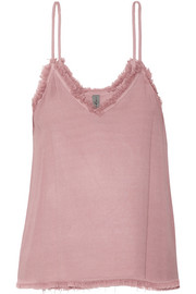 Frayed textured-crepe camisole