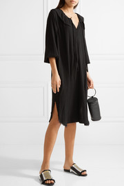 Harlequin frayed textured-crepe dress