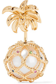 Pineapple 18-karat gold multi-stone earring