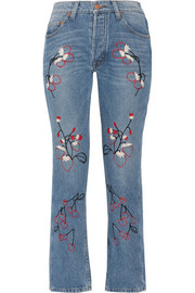 Bliss and Mischief Sweet Jam embroidered high-rise straight-leg jeans