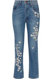 Bliss and Mischief Chamomile embroidered high-rise straight-leg jeans
