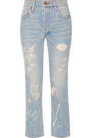 Study Hall embroidered high-rise straight-leg jeans