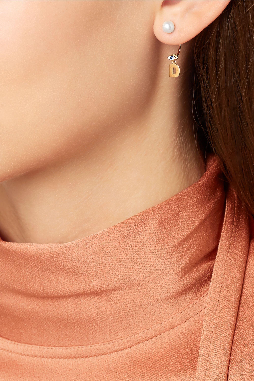 Delfina Delettrez ABC 18-karat gold, pearl and enamel earring