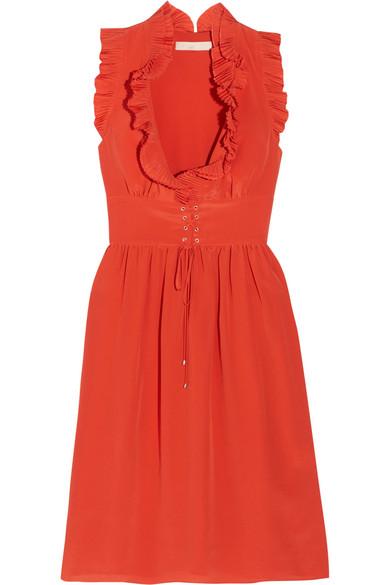 Vanessa Bruno - Gimmy Ruffled Silk Crepe De Chine Dress - Red
