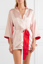 Free embroidered silk-satin robe