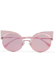 Fendi Cat-eye metal mirrored sunglasses