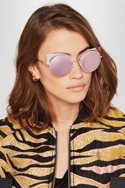 Cat-eye metal mirrored sunglasses