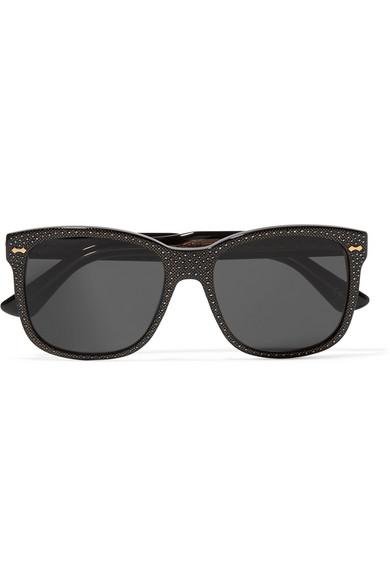 gucci female gucci crystalembellished squareframe acetate sunglasses black