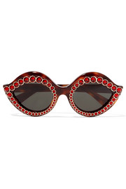 Gucci Crystal-embellished cat-eye acetate sunglasses