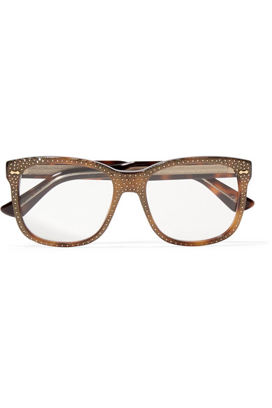 gucci female gucci crystalembellished squareframe acetate optical glasses bronze