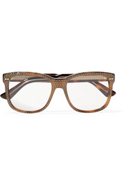 Crystal-embellished square-frame acetate optical glasses