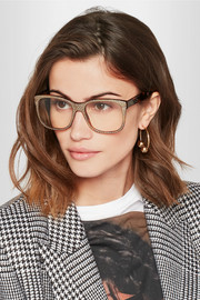 Gucci Crystal-embellished square-frame acetate optical glasses