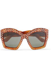 Gucci Studded square-frame acetate sunglasses