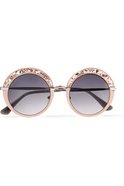 Jimmy Choo Gotha/S round-frame glittered acetate and gold-tone sunglasses