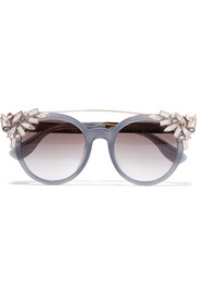 Vivy embellished round-frame acetate and gold-tone sunglasses
