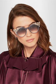 Jimmy Choo Vivy embellished round-frame acetate and gold-tone sunglasses