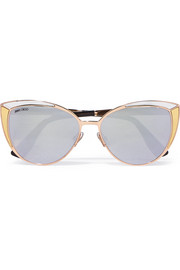 Jimmy Choo Cat-eye rose gold-tone sunglasses