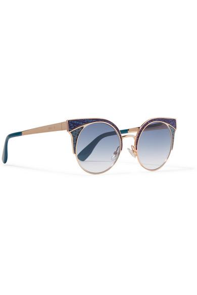 fe8a5b99b5ed Jimmy Choo. Ora cat-eye glittered leather and gold-tone sunglasses