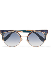 Ora cat-eye glittered leather and gold-tone sunglasses