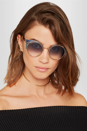 Jimmy Choo Ora cat-eye glittered leather and gold-tone sunglasses