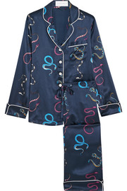 Lila Nasra printed silk-satin pajama set