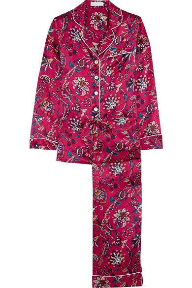 Olivia von Halle - Lily Yasmine Printed Silk-satin Pajama Set - Plum