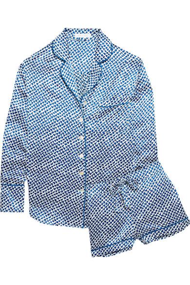 Olivia von Halle - Alba Amna Printed Silk-satin Pajama Set - Azure