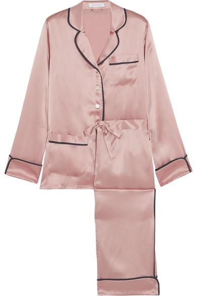 Olivia von Halle - Coco Silk-satin Pajama Set - Baby pink