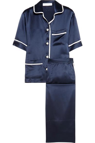 Olivia von Halle - Daria Silk-satin Pajama Set - Storm blue