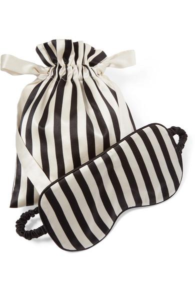 Olivia von Halle - Nika Reversible Striped Silk-satin Sleep Mask - Black