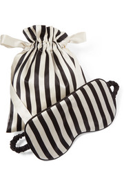Nika reversible striped silk-satin sleep mask