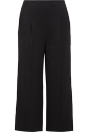 Cropped twill wide-leg pants