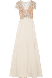 Jenny Packham Embellished tulle and satin-crepe gown