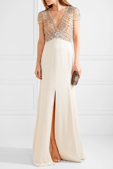 Jenny packham embellished tulle and satin crepe gown for Net a porter
