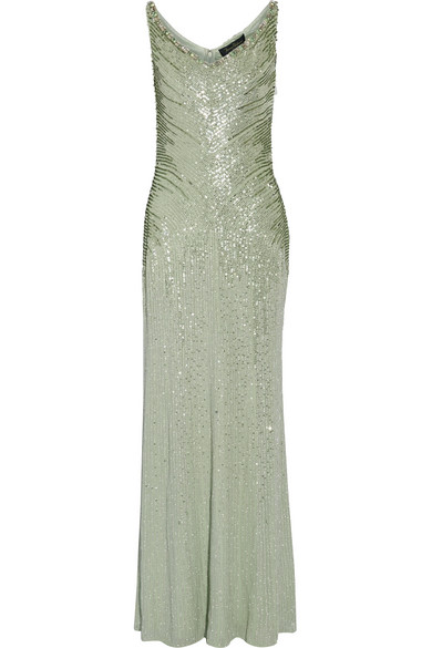 Jenny Packham - Crystal And Sequin-embellished Silk Gown - Mint