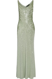 Jenny Packham Crystal and sequin-embellished silk gown