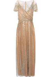 Jenny Packham Sequined tulle gown