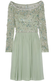 Jenny Packham Embellished tulle and silk-georgette dress