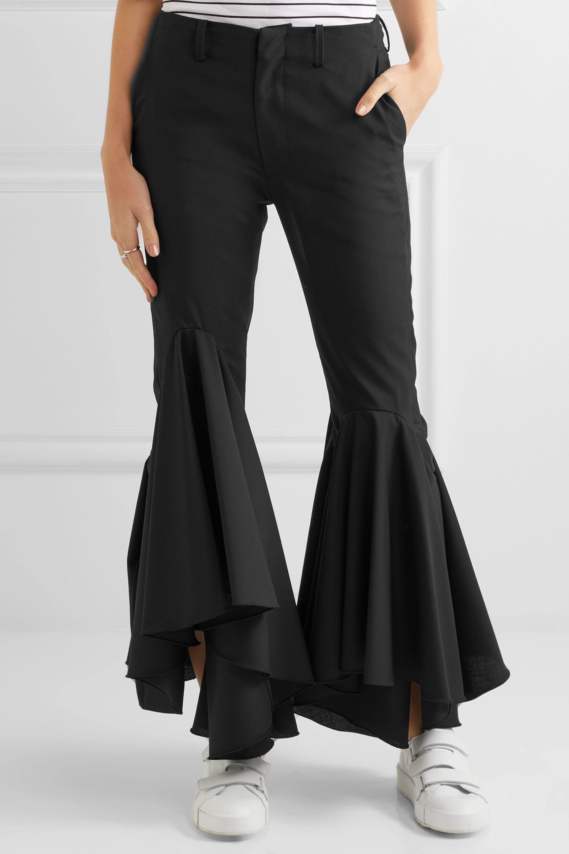 Facetasm Ruffled wool-crepe flared pants