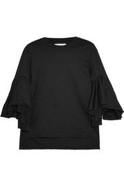 Ruffled cotton-jersey T-shirt