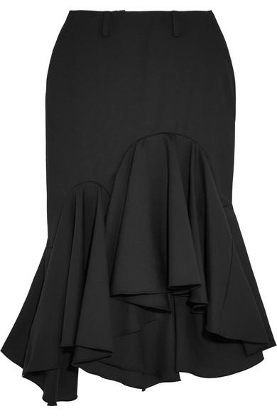 Facetasm - Ruffled Wool-crepe Midi Skirt - Black