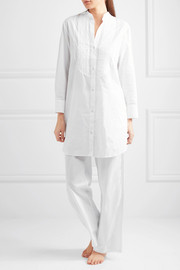 Pintucked cotton-poplin pajama shirt