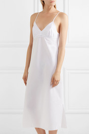 Lace and crochet-trimmed cotton nightdress