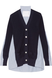 Sacai Ribbed cotton and poplin cardigan