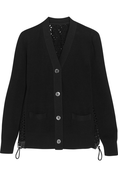 Sacai - Cotton And Broderie Anglaise Cardigan - Black