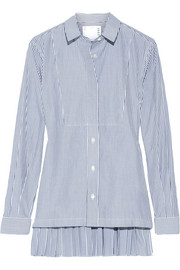 Pleated striped cotton-poplin shirt
