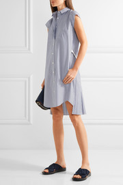 Pleated striped cotton-poplin shirt dress