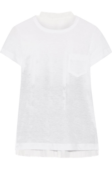 Sacai - Printed Voile And Linen-blend Jersey T-shirt - White